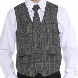 Boys Grey Tartan Tweed Look Waistcoat with Orange Check