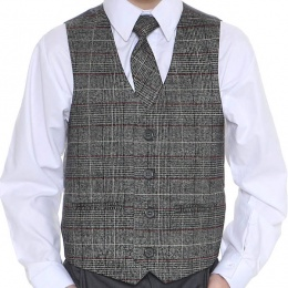 Boys Grey Tartan Tweed Look Waistcoat with Red Check