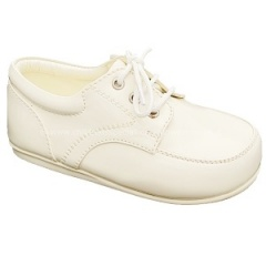 Boys Ivory Patent Formal First Walker Lace Up Shoes