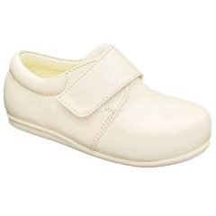 Boys Ivory Patent Formal First Walker Velcro Shoes