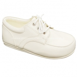Boys Ivory Patent Formal Lace Up Shoes