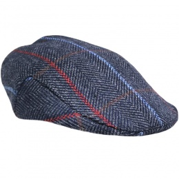 Boys Navy Herringbone Tweed Check Flat Cap