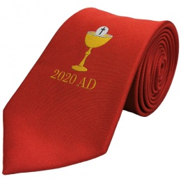 Boys Red Chalice & 2020 Date First Holy Communion Tie