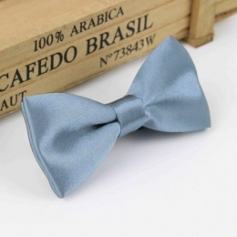 Boys Steel Blue Satin Bow Tie with Adjustable Strap