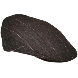 Boys Dark Brown Tweed Check Flat Cap