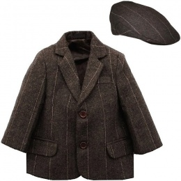 Boys Brown Tweed Check Jacket & Flat Cap