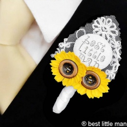 Boys White Lace & Sunflower Best Little Man Buttonhole