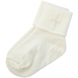 Baby Boys Ivory Christening Cross Socks