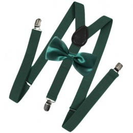 Children's Dark Green Y-Back Braces with Forest Bow Tie Set