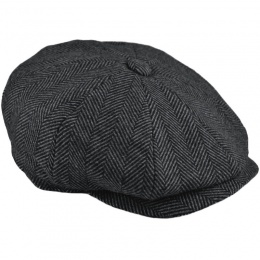 Boys Dark Grey Tweed Wool Baker Boy Cap