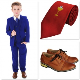 Boys Electric Blue Communion 5 Piece Suit, Shoes & Tie