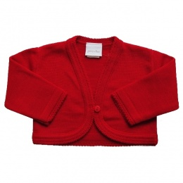 Baby Girls Red Plain Acrylic Long Sleeved Bolero