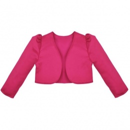 Girls Cerise Pink Satin Long Sleeved Bolero