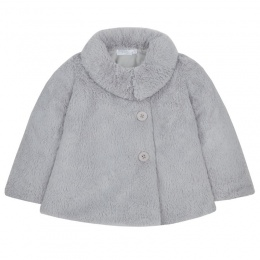 Girls Grey Faux Fur Long Sleeve Coat