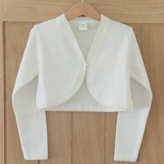 Girls Ivory 100% Cotton Long Sleeved Bolero
