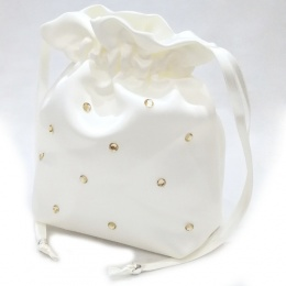Girls Ivory Duchess Satin Diamante Dolly Bag