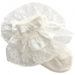 Girls Ivory Lace Ribbon & Diamante Bow Socks