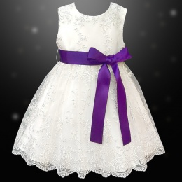 Girls Ivory Floral Lace Dress with Cadbury Purple Satin Sash