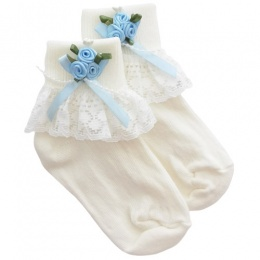 Girls Ivory Lace Socks with Baby Blue Rosebud Cluster