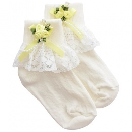 Girls Ivory Lace Socks with Lemon Rosebud Cluster