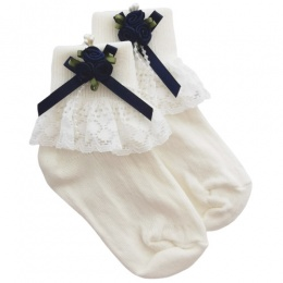 Girls Ivory Lace Socks with Navy Rosebud Cluster