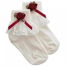 Girls Ivory Lace Socks with Wine Rosebud Cluster