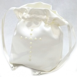 Girls Ivory Duchess Satin Pearl Cross Dolly Bag