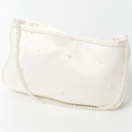 Girls Ivory Duchess Satin Bag with Beaded Strap