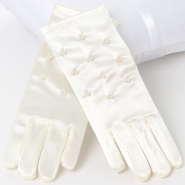 Girls Ivory Short Beaded Satin Gloves