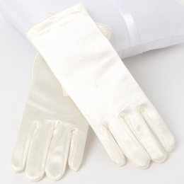 Girls Ivory Short Plain Satin Gloves