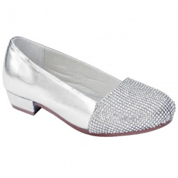 Girls Silver Sparkly Metallic Special Occasion Shoes