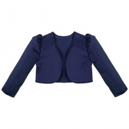 Girls Navy Blue Satin Long Sleeved Bolero