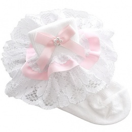 Girls White & Pink Lace Ribbon & Diamante Bow Socks