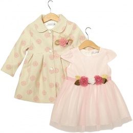 Girls Pink Flower Dress & Luxury Lurex Coat