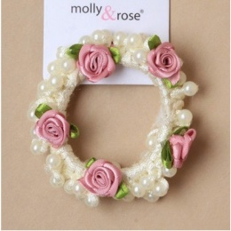 Girls Pink Rosebud & Pearl Bead Scrunchie