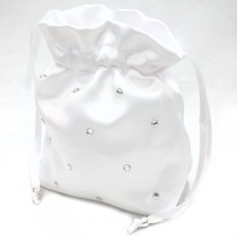 Girls White Duchess Satin Diamante Dolly Bag