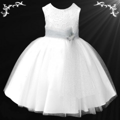 Girls White Diamante & Organza Dress with Sparkly Silver Sash