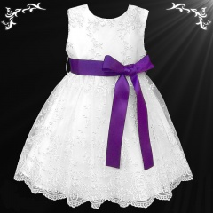 Girls White Floral Lace Dress with Cadbury Purple Satin Sash