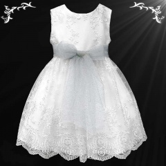 Girls White Floral Lace Dress with Sparkly Silver Organza Sash