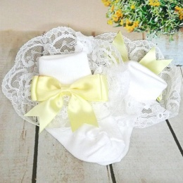 Girls White & Lemon Large Satin Bow Lace Socks