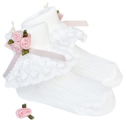 Girls White Lace Socks with Baby Pink Rosebud Cluster