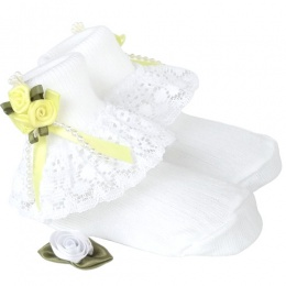 Girls White Lace Socks with Lemon Rosebud Cluster