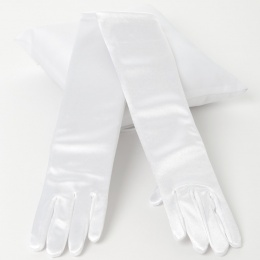 Girls White Long Plain Satin Gloves