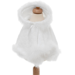 Baby Girls White Fleece & Marabou Fur Poncho Cape