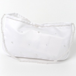 Girls White Duchess Satin Bag with Beaded Strap