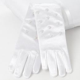 Girls White Short Beaded Satin Gloves