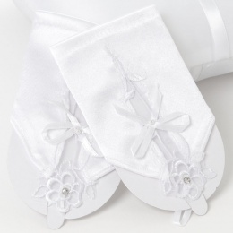 Girls White Short Satin Fingerless Gloves