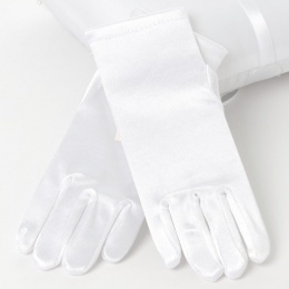 Girls White Short Plain Satin Gloves