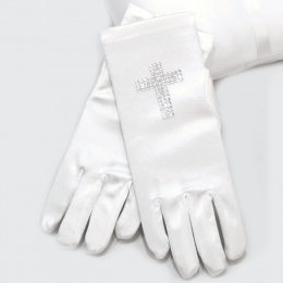 Girls White Diamante Cross Short Satin Gloves
