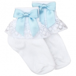 Girls White Lace Socks with Baby Blue Satin Bows